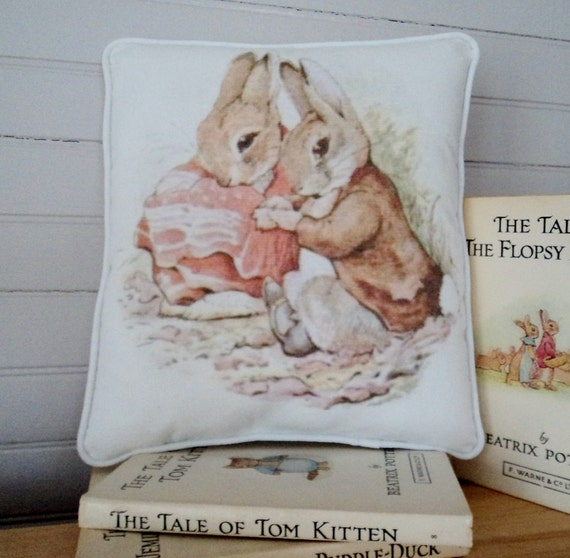 Cotton Decorative Pillow Beatrix Potter Peter Rabbit Benjamin Flopsy Bunny Baby Room Easter Spring Decor