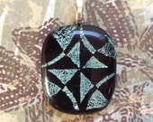 Teal Geometric Dichroic Etched Fused Glass Pendant Necklace