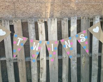 Twins Birthday Banner XL Pennants 2.00 Shipping