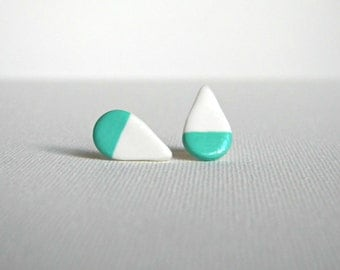Teardrop Clay Studs, Polymer Clay Earrings, Hand Painted with 18k Gold, Silver, or Copper