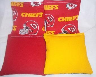 8 ACA Regulation Cornhole Bags - 8 handmade from Kansas City Chiefs Fabric