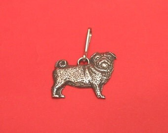 Pug Dog Pewter Motif Zipper Pull Mothers Day Gift