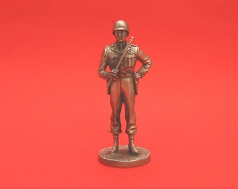 Major General George Patton World War II  Pewter 75mm Figurine World War 2 Allied Leader Collectible Model