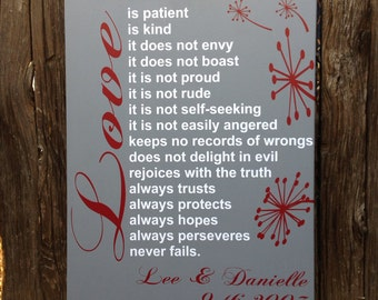 Valentines Day Gift Love is Patient 1 Corinthians 13:4 Wood Sign Wedding Date Scripture Personalize 5th Anniversary Gift 1st Anniversary