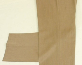 Rossi Clothiers Solid Tan 100% Wool Dress Pleat Trousers Men's Size: 36x37