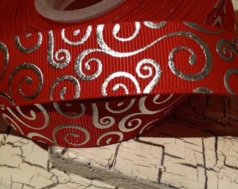 "7/8"" Preppy Metallic Silver Swirl Loop on RED Christmas  grosgrain ribbon sold by the yard"