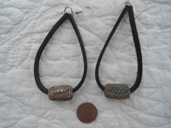 handmade leather cord earrings with clay by