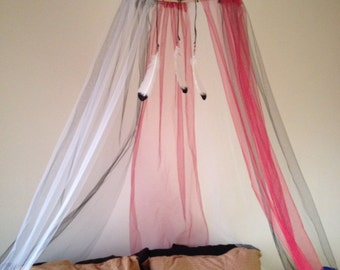 Black, White, Burgundy Dreamcatcher Bed Canopy