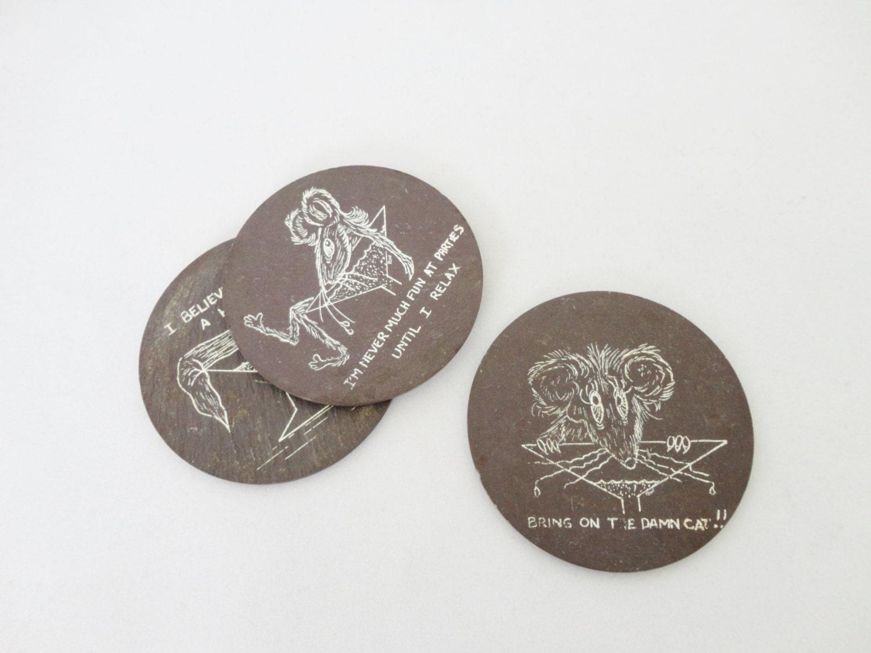 Vintage Drink Coasters Wood Coasters Wooden By Ramblersroost