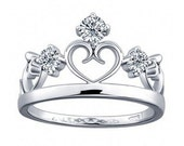 Silver Princess Crown Ring, Children Ring, Children Princess Ring, Heart Crown ring, Crown Ring for Children