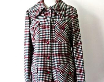 1970's Plaid Wool Pea Coat