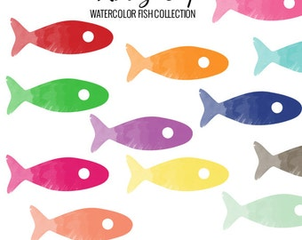 Watercolor Fish Collection- Commercial and Personal Use