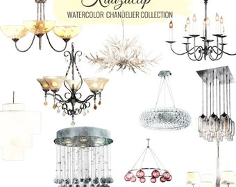 Watercolor Chandelier Collection - Commercial and Personal Use