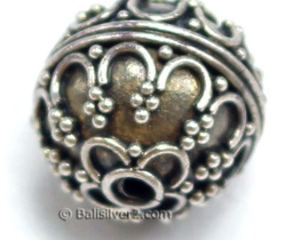 Bali Beads Sterling Silver Round 11 mm Bead # 1405-11 mm  Ornate Bali Silver Beads