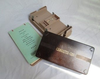 Vintage Canasta Gin Play Set with Card Holder, Counter and Score Pad