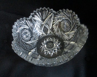 Vintage Cut Glass Saw Tooth Edge Bowl