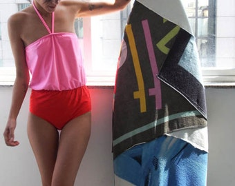 Swimsuit // Color Block Strapless One piece Swimsuit in Red and Pink // Retro Inspired womens swimwear