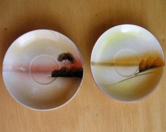 Two Vintage Hand Painted Saucers From Japan
