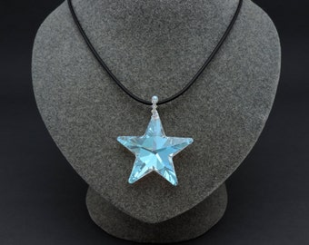 Swarovski® Crystal Star Necklace, Crystal Star Pendant, Aurora Borealis, 40MM Star with Swarovski® Crystal Bail, Star Pendant