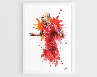 Arjen Robben (Bayern Munich) - A3 Wall Art Print Poster of the Original Watercolor Painting Football Poster Soccer Poster