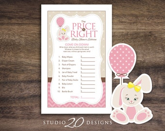 Instant Download Pink Bunny Baby Shower The Price Is Right Game Cards, Printable Pink Chevron Baby Shower Price Game 43A