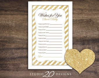 Instant Download Gold Glitter Baby Shower Games, Glitter Wishes for Baby Game, Printable Wish for Baby Game #55A