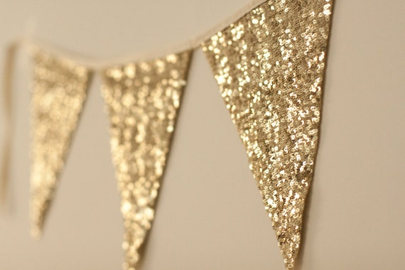 Bachelorette Party Gold Bunting Garland Sequin