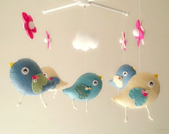 "Baby crib mobile, Bird mobile, felt mobile, nursery mobile, baby mobile,""Bird - Calico and Ivory"""