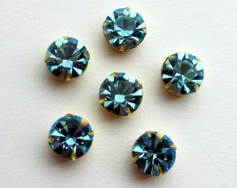 2 Swarovski Stones in Raw Brass 4 Prong Settings - Aqua 47 ss Crystal Stones - 11 mm