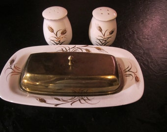 Royal Sealy Golden Wheat Butter Dish and Salt and Pepper Set;