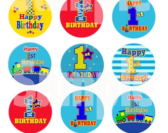 INSTANT DOWNLOAD Boy's First Birthday Bottle Cap Images - 4 X 6 Digital Collage Sheet Scrapbooking Cupcake Topper Hair bow center Pendant