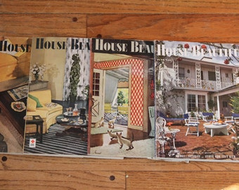 Four House Beautiful Magazines from the 1940's