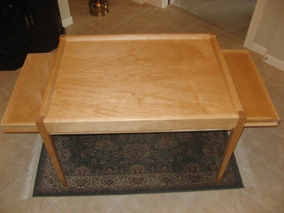 jigsaw puzzle table in maple with modern design elements