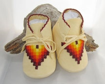 Native American Beaded Baby Moccasins and Soft Soled Shoes in a southwest beaded design