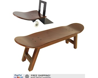 skateboard stool and bookends, walnut color