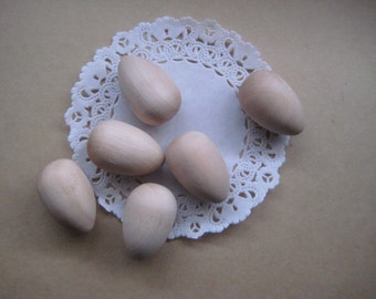 Dozen Unfinished Wooden Eggs 7/8 inches 2.2 cm Diameter Set of 12, DIY Decorations, Craft Supplies, Rounded bottom, Hardwood Size Small