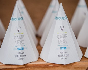 Camping / Camp Party / Teepee Favour Box for a Camping Party