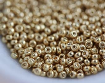 8/0 Galvanized Yellow Gold #1053 Miyuki seed beads 10 grams (M-7A)