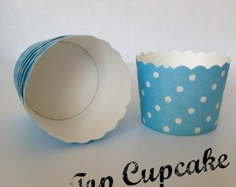 Decorative Cupcake and Snack Cups  - Medium Blue & White Polka Dot