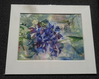 Indian Flowers MOUNTED Giclee Print from Watercolour