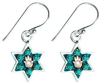 Hamsa Star of David Earrings by Ester Shahaf