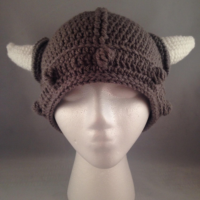 Crochet Viking Horn Hat Teen/Adult Size by EmilyRoseCrochet