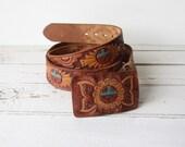 Vintage ZUNI Tooled Leather Belt