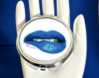 Personalized Compact Mirror - Vintage Lips 2 - Blue