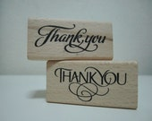 Thank You Stamp - Rectangle Wooden Rubber Stamp - 1 piece of your choice