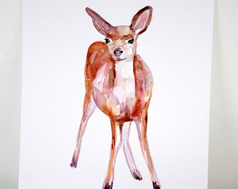 Watercolor Painting of a Deer. Fawn Aquarelle painting. Animal zen art on Heavy cardboard, ready to hang on the wall.