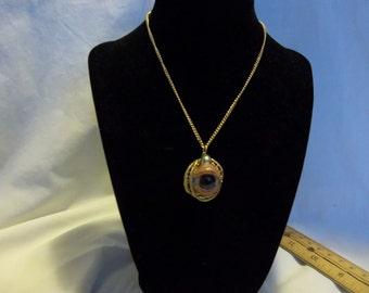 Creepy Human Doll Brown Glass Eye Eyeball Gold Tone 24 inch Necklace Gothic Steampunk OOAK