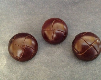 "Brown leather button set. 7/8"" (23mm). Set of 3"