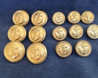 "Suit Button Set. Gold anchor buttons. Sizes 7/8"" (23mm) & 5/8"" (15mm)"