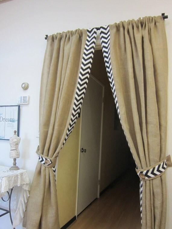 Items similar to Burlap Drapes, Shabby Chic Curtains ...